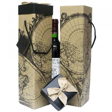 Wine Gift Box - Montrachet (x2) Maps Collection Reusable Caddy - Easy to Assemble - No Glue Required - Gift Tag and Ribbon Included - Set of 2 - EZ Wine Box by Endless Art US