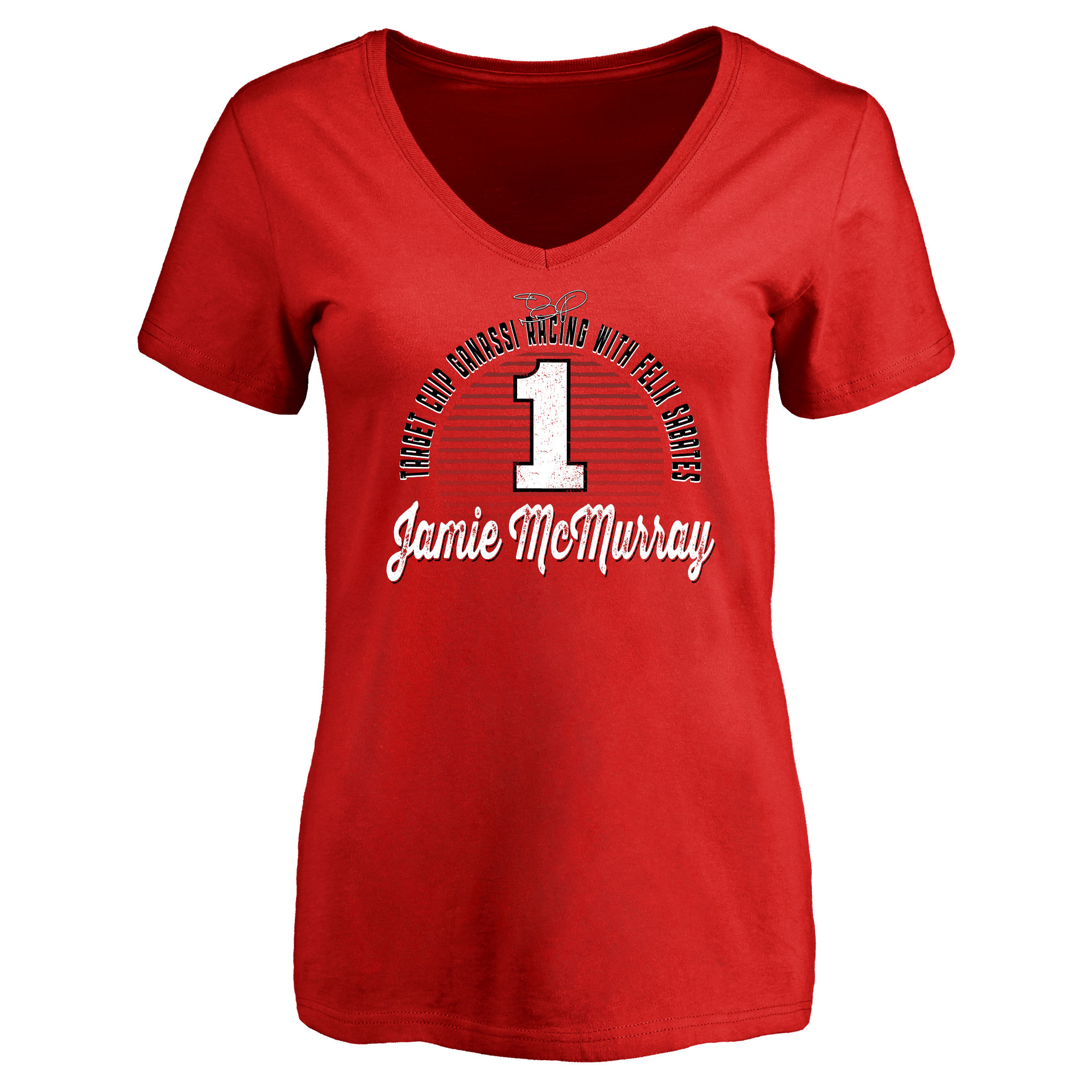 Jamie McMurray Women's Race Day V-Neck T-Shirt - Red