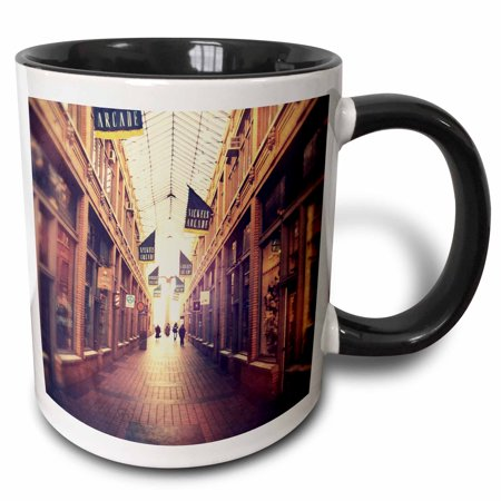 3dRose On The Mall - stylized photograph of shopping arcade located in Ann Arbor, Michigan - Two Tone Black Mug, (Outlet Mall In Michigan)