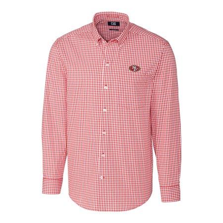 San Francisco 49ers Cutter & Buck Big & Tall Stretch Gingham Long Sleeve Woven Button Down Shirt - Scarlet