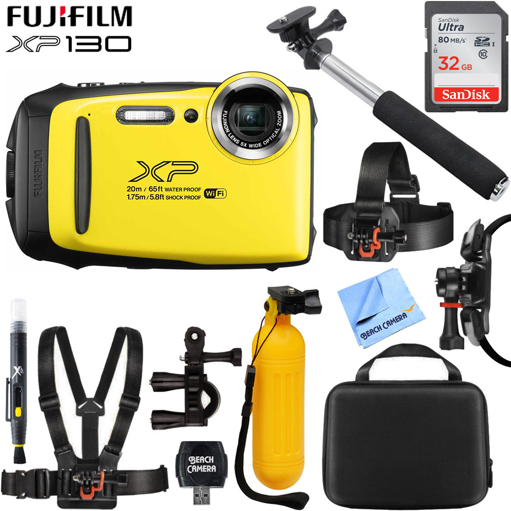 Fujifilm FinePix XP130 Waterproof Digital Camera Kit Yellow w/ 16GB SD Memory Card (600019828) with 32GB Memory Card, Cleaning Kit, BLTCHM1 Clip Head Mount Kit, Yellow Floating Bobber Handle & More