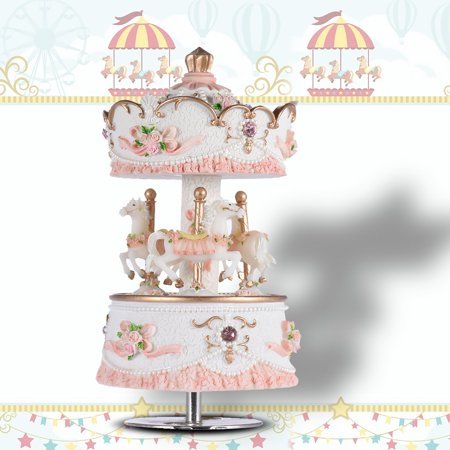 Simply Gold Music Box (Muslady Laxury Windup 3-horse Carousel Music Box Artware/Gift Melody Castle in the Sky Pink/Purple/Blue/Gold Shade for Option)