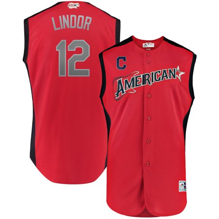 Francisco Lindor American League Majestic 2019 MLB All-Star Game Workout Player Jersey - Red Game Official Mlb Baseball Jersey