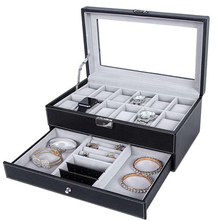 Black Faux Leather Jewelry Case - 12 Slots Watch Storage Box, Watch Box Mens Watch Organizer Lockable Jewelry Display Case with Real Glass Top Black Faux Leather Black