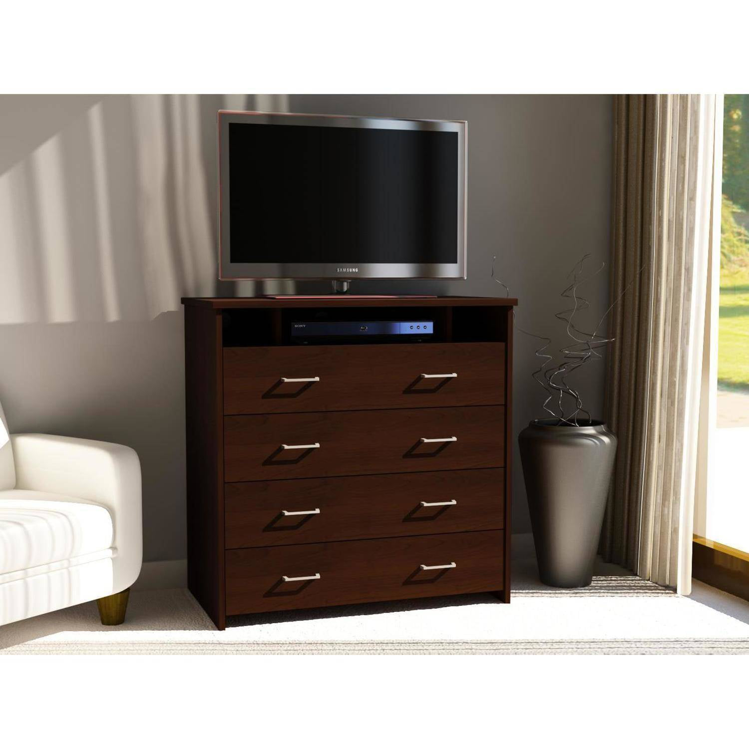 Ameriwood Home 4 Drawer Media Chest, Espresso - Walmart.com
