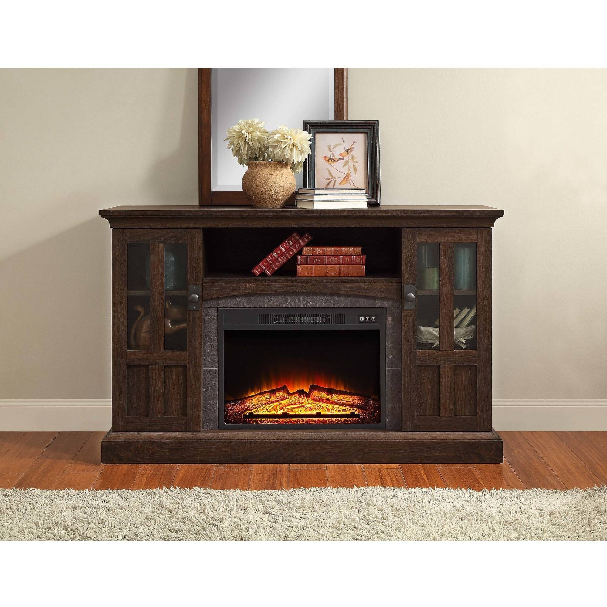 Fabulous Whalen Media Fireplace Console For Tvs Up To 60 Brown Ash Download Free Architecture Designs Grimeyleaguecom