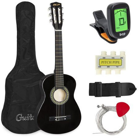 Best Choice Products 30in Kids Classical Acoustic Guitar Complete Beginners Set, Musical Instrument Kit w/ Carry Bag, Picks, E-Tuner, Strap - Black