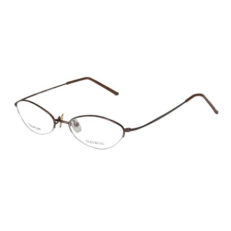 New Vera Wang V24 Womens/Ladies Cat Eye Half-Rim Titanium Chocolate Elegant Trendy Cat Eye Titanium Frame Demo Lenses 49-16-136 -