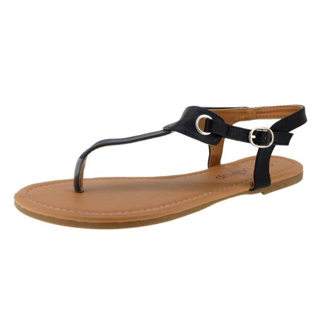 Summer Flip Flop Sandals - Newstar Claire Thong Flat Sandals for Beach, Women's Black Flat Summer Sandals with Buckle, HXZ029A Slippers Flip Flops for Women