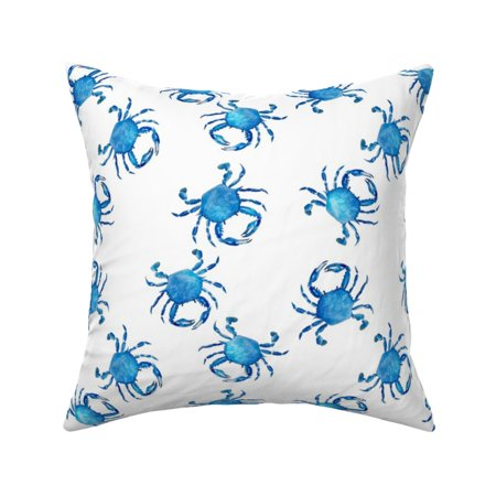 Crab Beach Nautical Summer Sea Throw Pillow Cover w Optional Insert by Roostery