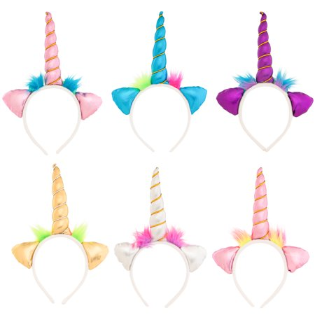 (6 Pack) Assorted Color Soft Unicorn Headband Set For Unicorn Costume For Girls, Boys, Adults, Birthday, Unicorn Party Supplies, Unicorn Party Favors, Unicorn Gifts - Adult Headbands
