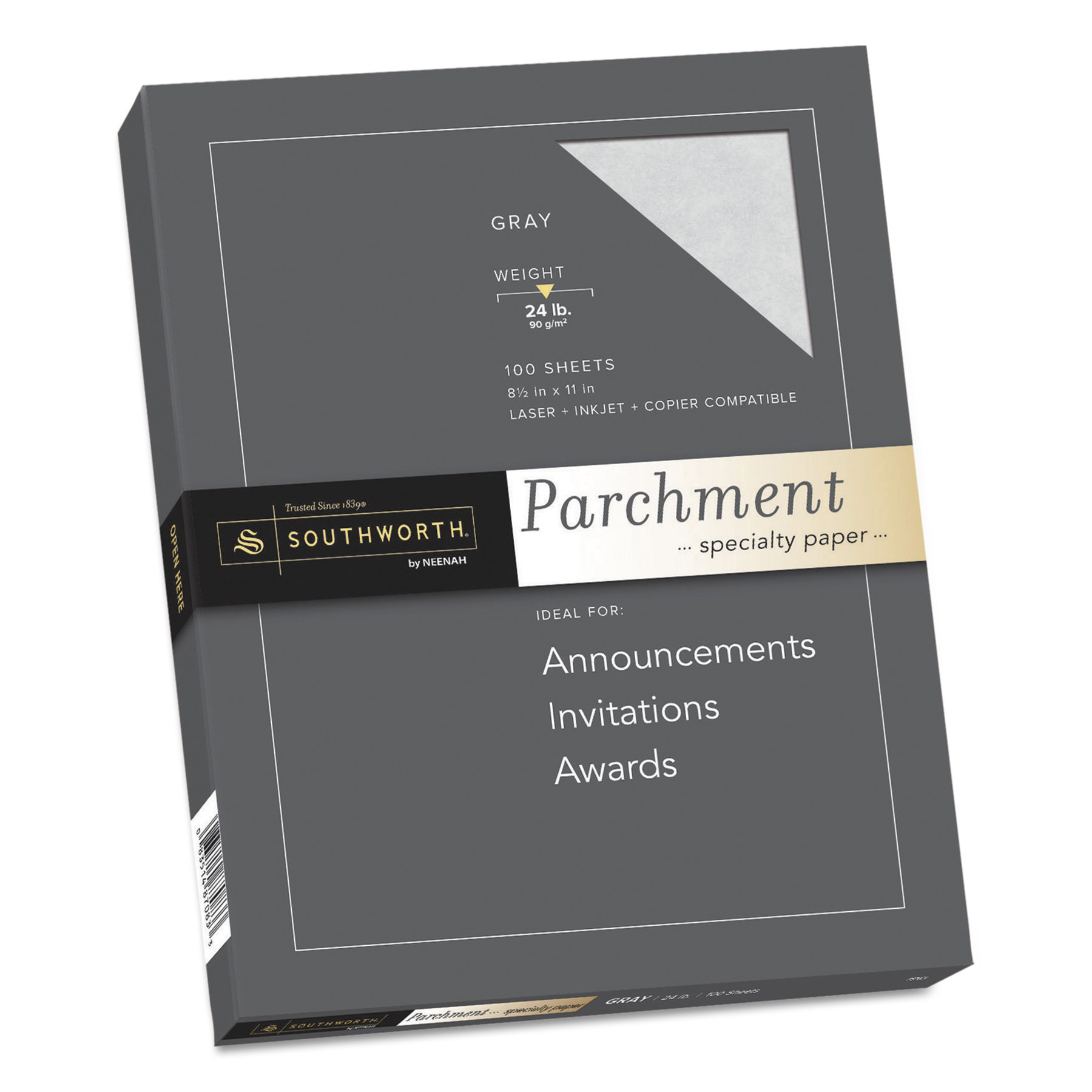 Southworth Parchment Specialty Paper, 24lb, 8 1/2 x 11, Gray, 100 Sheets -SOUP974CK336