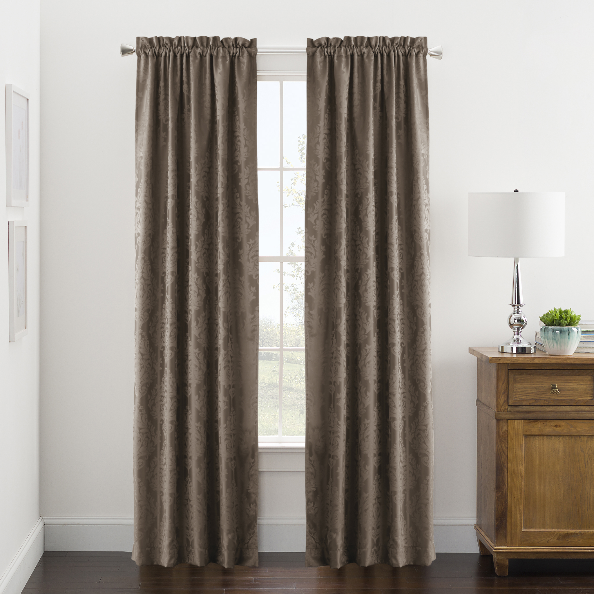 Mainstays Traditional Damask Jacquard Window Curtains, Set of 2