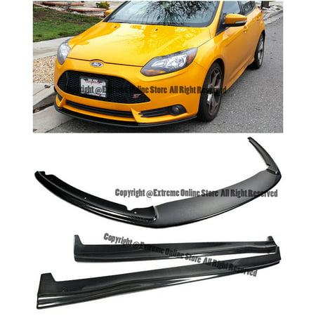 Add On Bottom Line Style Carbon Fiber Front Bumper Lower Lip Splitter W Side Skirts Panels For 2013 2014 Ford Focus St Mk3