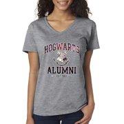 New Way 214 - Women's V-Neck T-Shirt Hogwarts Alumni Galaxy Harry Potter Large Heather Grey