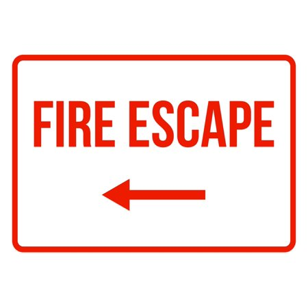 - Fire Escape Left Arrow No Parking Business Safety Traffic Signs Red - 7.5x10.5