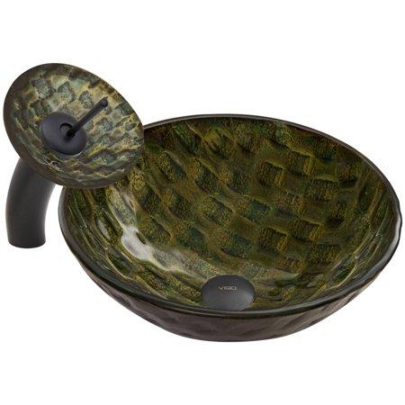 VIGO Amazonia Glass Vessel Sink and Waterfall Faucet Set, Matte ...