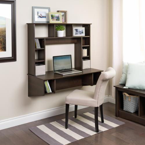 Prepac Everett Espresso Traditional Floating Desk