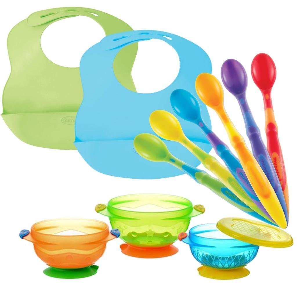 Munchkin 3-Count Suction Bowl with Soft Tip Infant Spoons & Bibbity Baby Bibs by Munchkin%2FSummer Infant