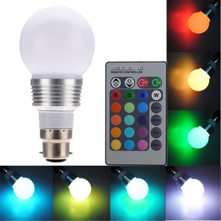 b22 3w multi color 16 colors changing rgb led light bulb light bayonet bulb wireless remote. Black Bedroom Furniture Sets. Home Design Ideas
