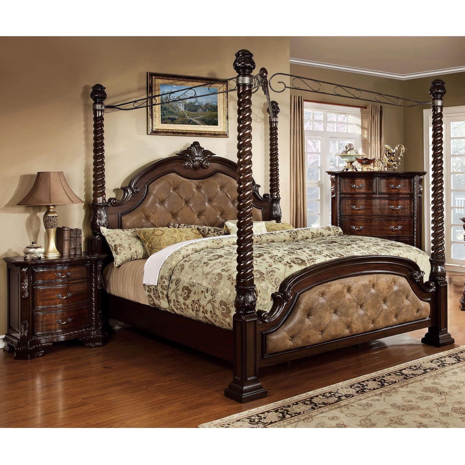 Furniture Of America Kassania Traditional Poster 3 Piece Canopy Bedroom Set Walmart Com Walmart Com