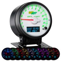 GlowShift 60mm 3in1 White Face Exhaust Gas Temp w Digital Boost  & Trans Temp Gauges Dodge Ram Style