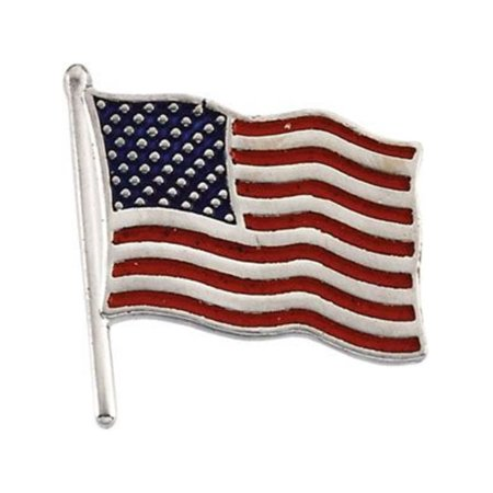 American Flag Lapel Pin in 14k White Gold