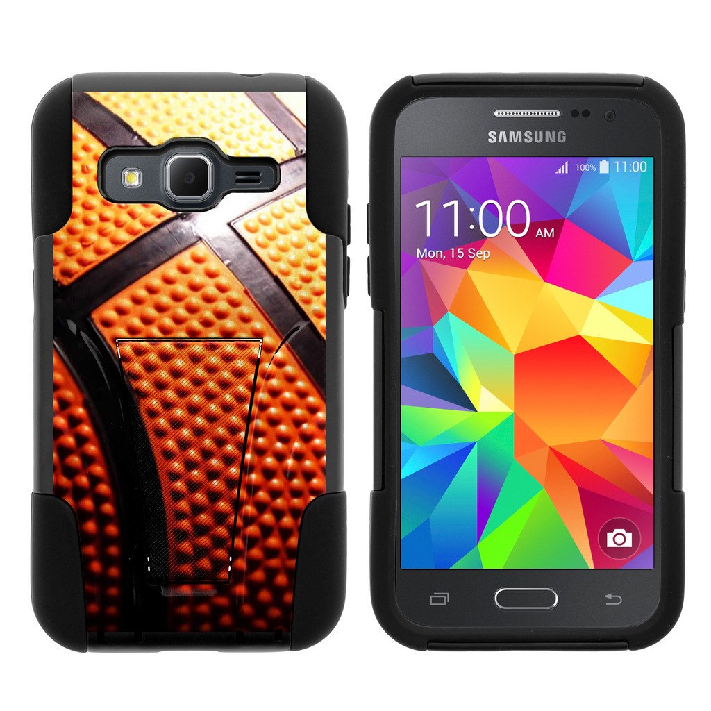 Samsung Galaxy Core Prime G360 STRIKE IMPACT Dual Layered Shock Resistant Case with Built-In Kickstand by Miniturtle® - Basketball