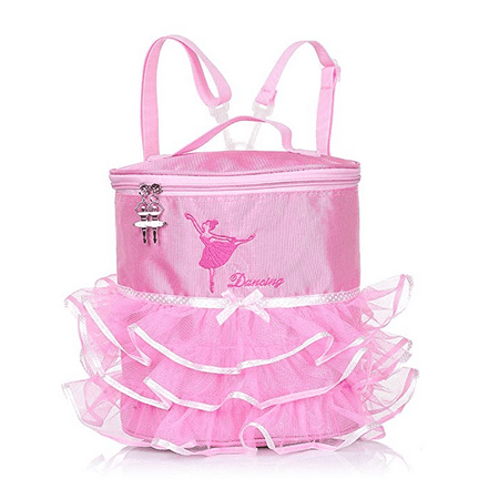 Kids Girls Ballet Dancing Backpack Ballet Girls Ballerina Embroidered Pink Lovely Backpack Tiered Ruffled Mesh Bag Backpack with Plastic - Lovely Embroidered