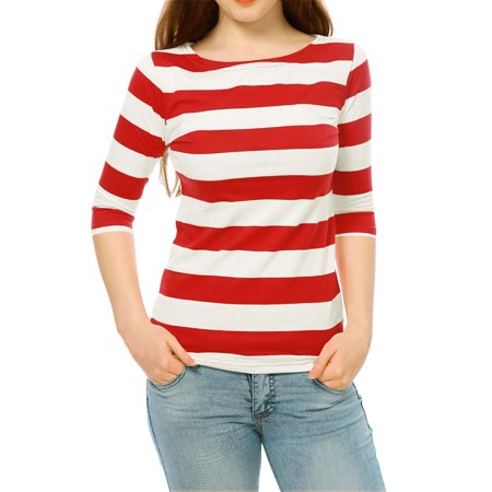 Zag Stripe Shirt (Women's Boat Neck Elbow Sleeves Slim Fit Striped T-shirt Top)