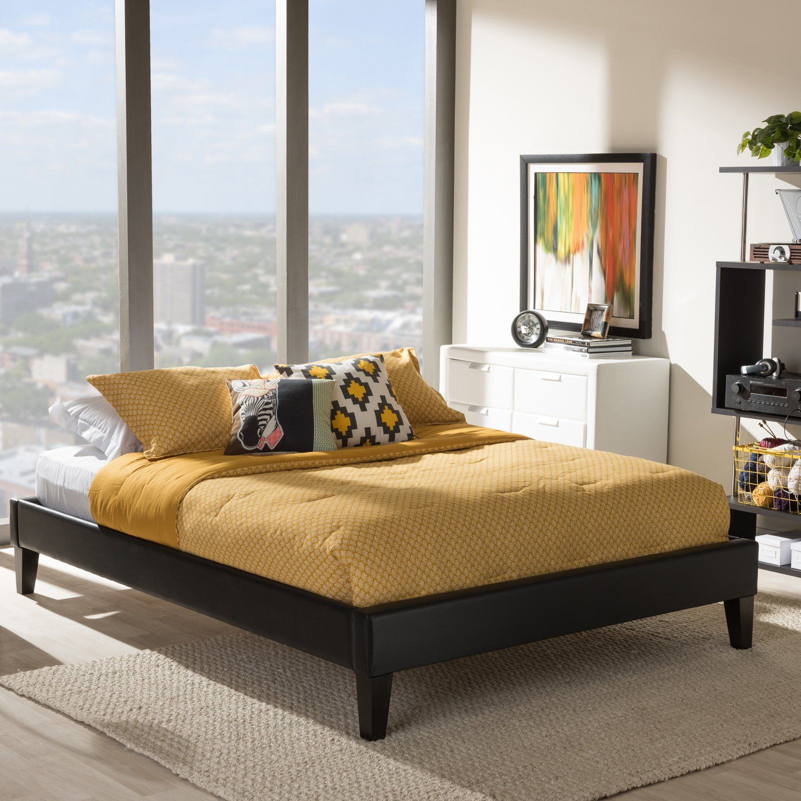Baxton Studio Lancashire Modern and Contemporary Black Faux Leather Upholstered Full Bed Frame with Tapered Legs