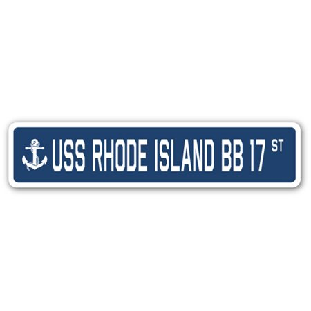 USS RHODE ISLAND BB 17 Street Sign us navy ship veteran sailor gift - Halloween In Rhode Island