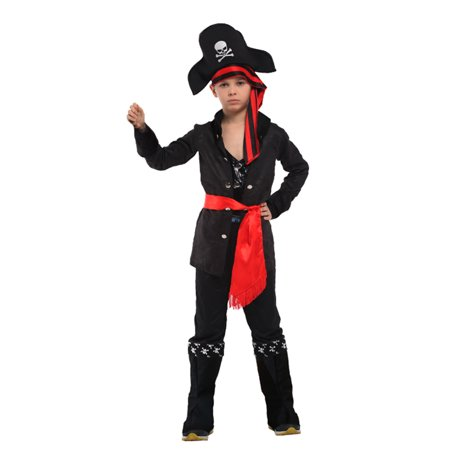 Boys' Carribean Pirate Costume Set with Shirt, Pants, Hat, Belt, L](Boys Pirate Costume)