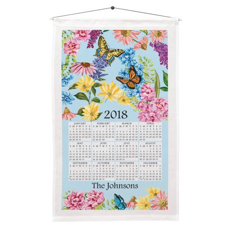 1 Year Butterfly Garden Calendar Towel - Included Dowel and Hanging String Allow for Instant Hanging - Linen and Cotton Blend, 16 in. by 27 in.
