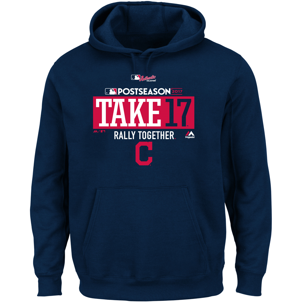 Cleveland Indians Majestic Big & Tall 2017 Postseason Participant Pullover Hoodie - Navy