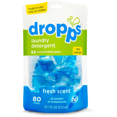 Dropps Laundry Detergent Pacs in Fresh Scent, 80 Loads