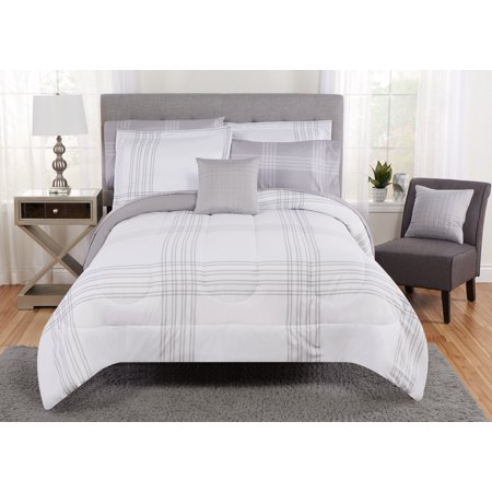 Mainstays Large Plaid Grey and White Bed in a Bag Bedding Set, Queen ()