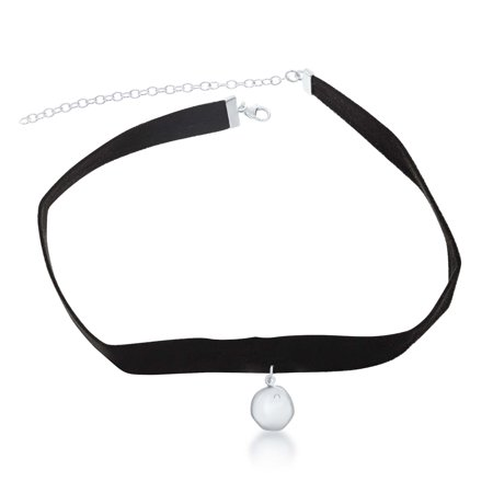"""Sterling Silver 12"""" + 3"""" Hanging Charm with CZ Suede Choker Necklace"""