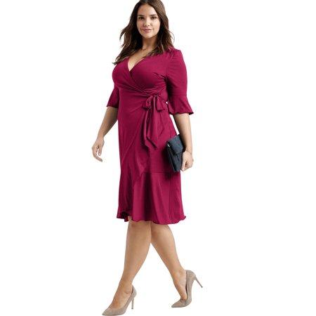 Ellos - Ellos Plus Size Ruffle Trim Wrap Dress - Walmart.com