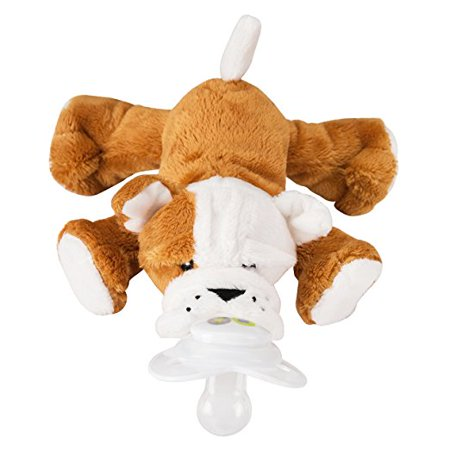 Nookums Paci Plushies Shakies Bull Dog Pacifier Holder And Rattle  2 In 1
