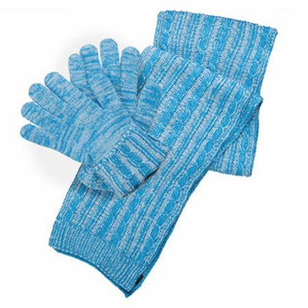 Isotoner Women's Knit Gloves and Cable Scarf Gift Boxed Set Blue](Long Blue Satin Gloves)