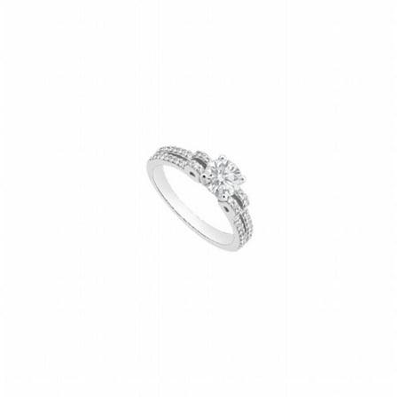 Fine Jewelry Vault UBJS3296AW14CZ 1 CT Engagement Ring With Brilliant Cut Triple CZ Diamond Style