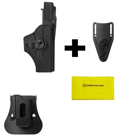 Imi Defense Zsp08 Single Mag Pouch   Paddle   Z1400 Level 3 360  Rotate Holster Glock 19 23 25 32 Gen 4  Black   Z2300 Low Ride Belt Loop Attachment   Ultimate Arms Gear Care Silicone Cleaning Cloth