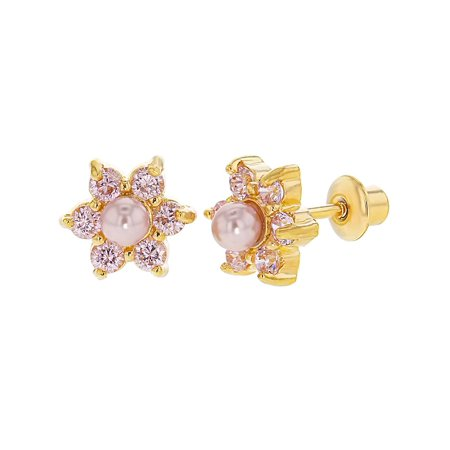 18k Gold Plated Pink Crystal Simulated Pearl Flower Screw Back Earrings Girls