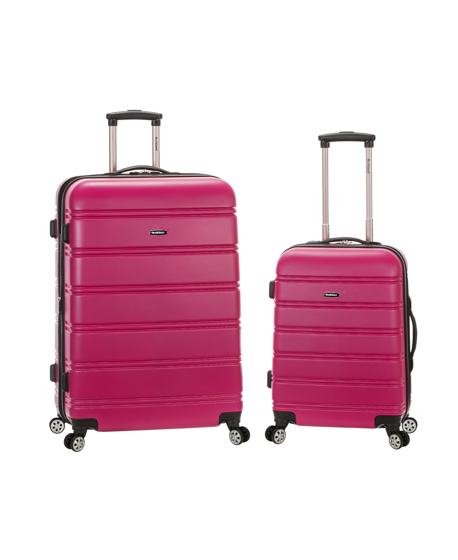 Rockland Melbourne Expandable ABS Spinner Luggage Set - Magenta