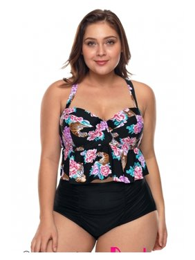 d65a267743 Product Image Women Plus Size Swimsuit Floral Print Ruffled Bikini High  Waist Bathing Suit M-3XL