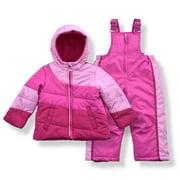 Arctic Quest Girl's Color Block Puffer Jacket and Ski Bib Snowsuit Set - Size 2T, Rose Violet