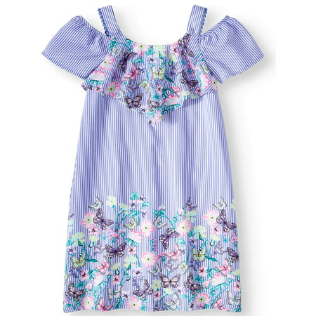 Overlay Border Print Dress (Little Girls, Big Girls & Big Girls Plus)](Little Girls Flapper Dress)
