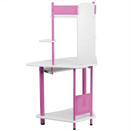 Scranton & Co Corner Computer Desk with Hutch in Pink - image 1 of 2