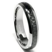 Titanium Kay Titanium 5MM Carbon Fiber Inlay Comfort Fit Mens Wedding Band Ring Sz 7.0